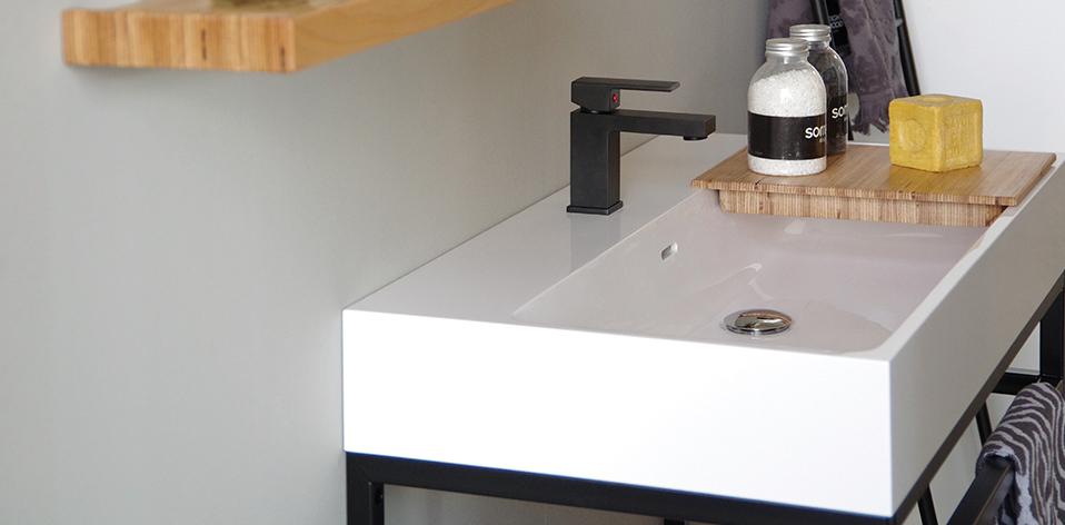 Zoom sur le plan du meuble de salle de bains Steel par Cedam