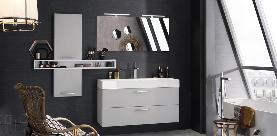 Meuble de salle de bains Unique Laque Soft Gris Nuage par Delpha